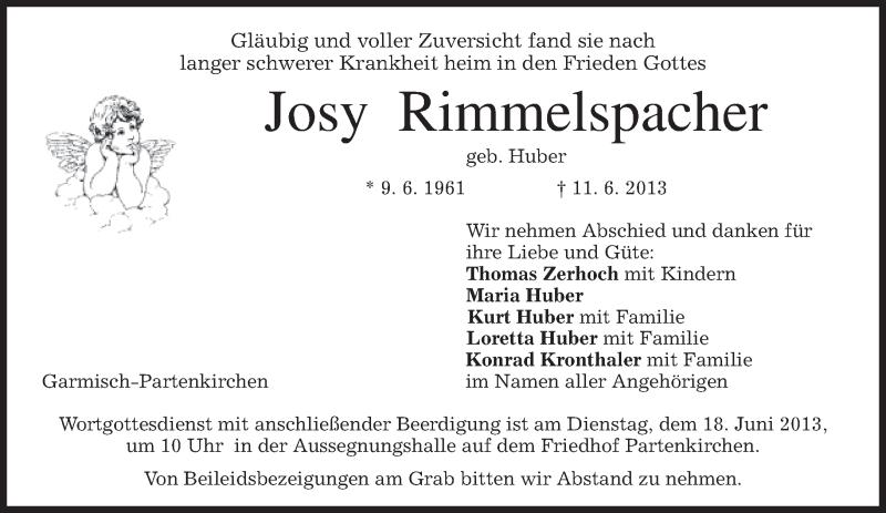 Traueranzeige für Josy Rimmelspacher vom 15.06.2013 aus merkurtz