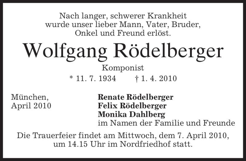 Traueranzeige für Wolfgang Rödelberger vom 06.04.2010 aus MERKUR & TZ