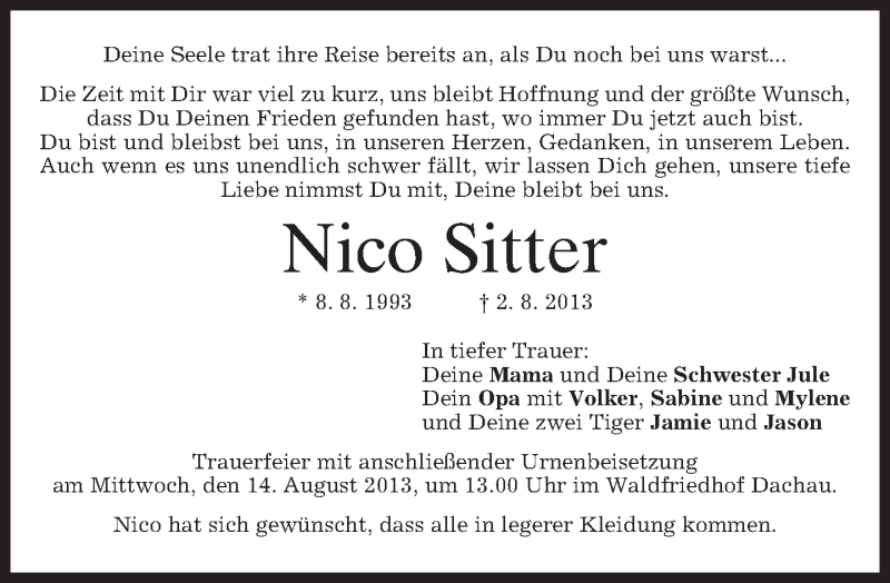 Anzeige von  Nico Sitter