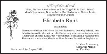Traueranzeige von Elisabeth Rank von merkurtz