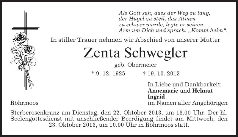 Traueranzeige für Zenta Schwegler vom 21.10.2013 aus merkurtz