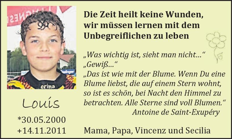 Traueranzeige für Louis Tobias Brand vom 14.11.2013 aus merkurtz
