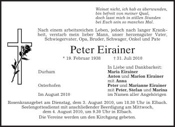 Traueranzeige von Peter Eirainer von MERKUR & TZ