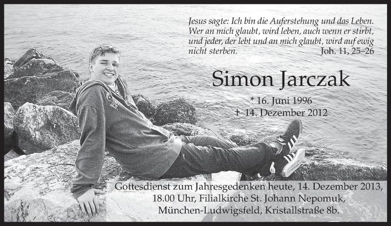 Traueranzeige für Simon Jarczak vom 14.12.2013 aus merkurtz
