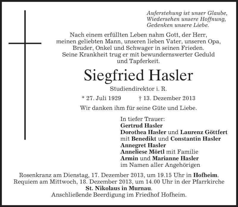 Traueranzeige für Siegfried Hasler vom 16.12.2013 aus merkurtz