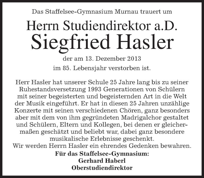 Traueranzeige für Siegfried Hasler vom 17.12.2013 aus merkurtz