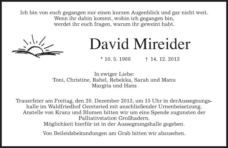 Traueranzeige für David Mireider vom 18.12.2013 aus merkurtz