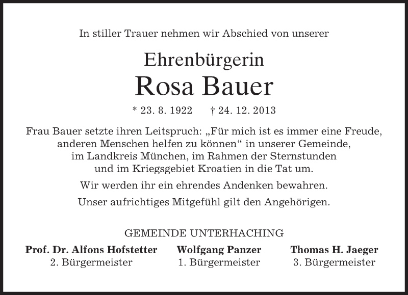 Traueranzeige für Rosa Bauer vom 30.12.2013 aus merkurtz