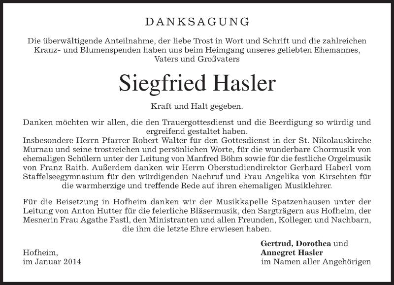 Traueranzeige für Siegfried Hasler vom 04.01.2014 aus merkurtz