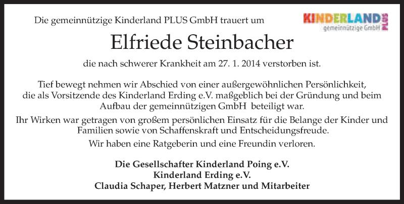Traueranzeige für Elfriede Steinbacher vom 30.01.2014 aus merkurtz