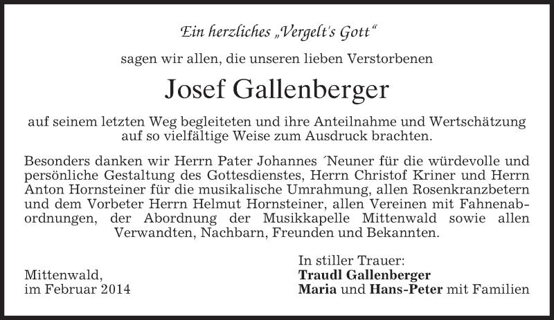 Traueranzeige für Josef Gallenberger vom 08.02.2014 aus merkurtz