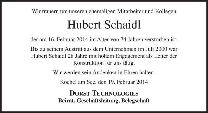 Traueranzeige für Hubert Schaidl vom 20.02.2014 aus merkurtz