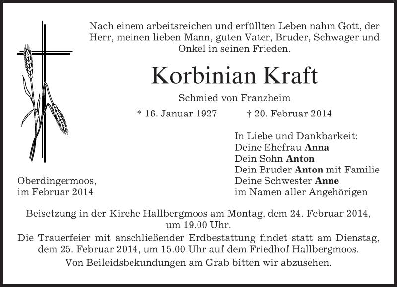 Traueranzeige für Korbinian Kraft vom 22.02.2014 aus merkurtz