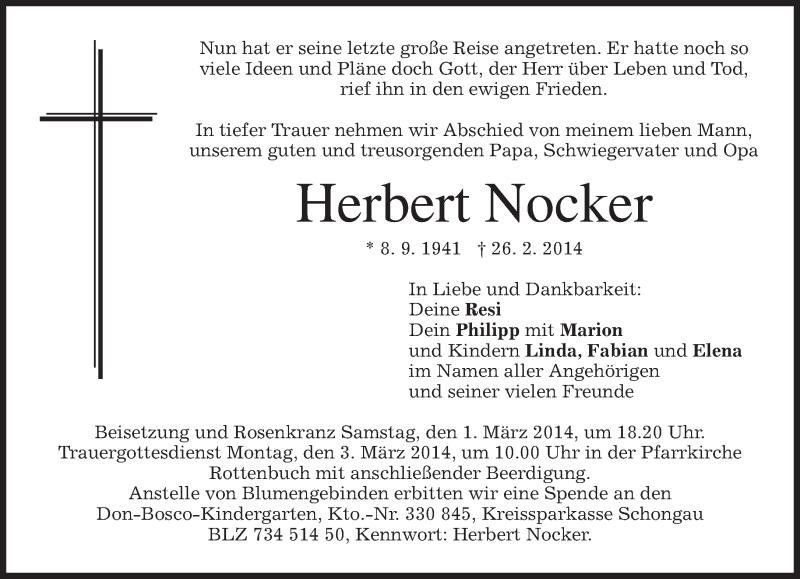 Traueranzeige für Herbert Nocker vom 01.03.2014 aus merkurtz