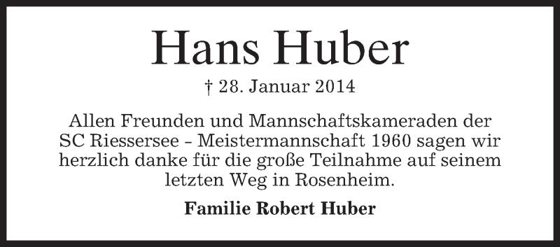 Traueranzeige für Hans Huber vom 01.03.2014 aus merkurtz