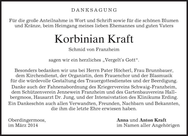 Traueranzeige für Korbinian Kraft vom 08.03.2014 aus merkurtz