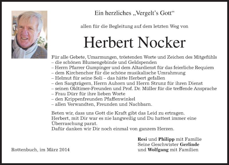 Traueranzeige für Herbert Nocker vom 08.03.2014 aus merkurtz