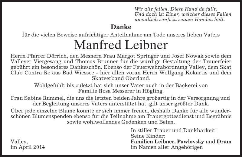 Anzeige von  Manfred Leibner