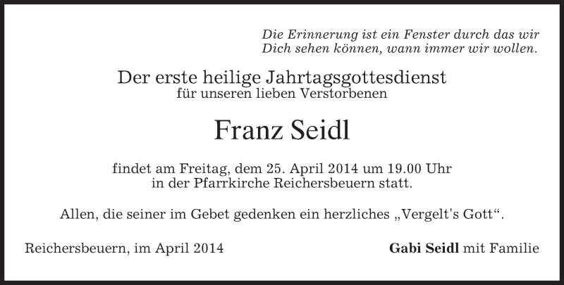 Traueranzeige für Franz Seidl vom 24.04.2014 aus merkurtz
