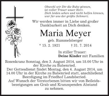 Traueranzeige von Maria Meyer von merkurtz