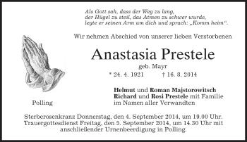 Zur Gedenkseite von Anastasia