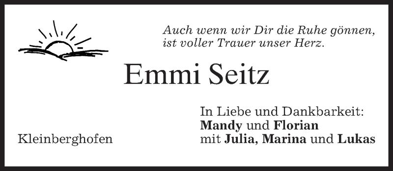 Anzeige von  Emmi Seitz