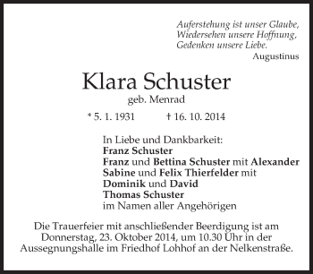 Zur Gedenkseite von Klara