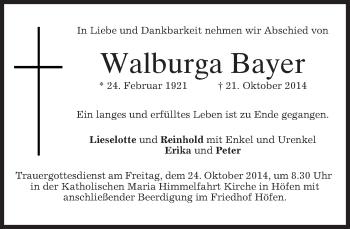 Zur Gedenkseite von Walburga