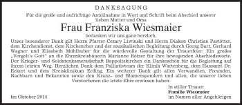 Traueranzeige von Franziska Wiesmaier von merkurtz
