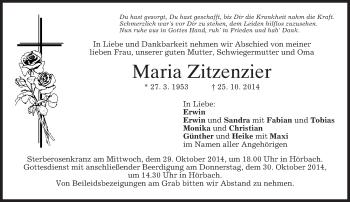 Traueranzeige von Maria Zitzenzier von merkurtz