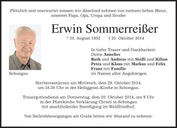 Traueranzeige von Erwin Sommerreißer von merkurtz