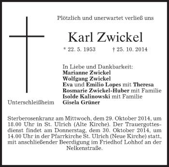 Traueranzeige von Karl Zwickel von merkurtz