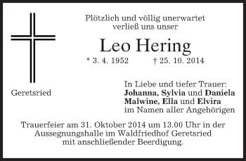 Traueranzeige von Leo Hering von merkurtz