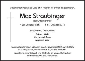 Traueranzeige von Max  Staubinger von merkurtz