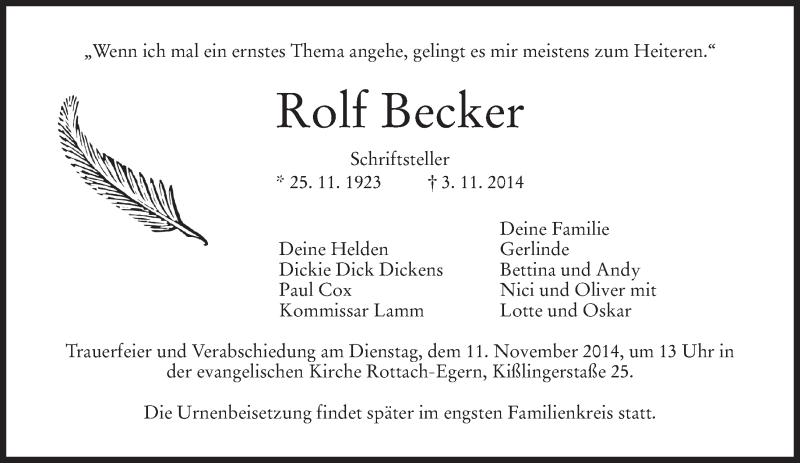 Traueranzeige für Rolf Becker vom 08.11.2014 aus merkurtz