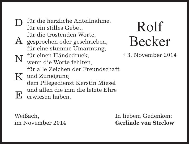 Traueranzeige für Rolf Becker vom 22.11.2014 aus merkurtz