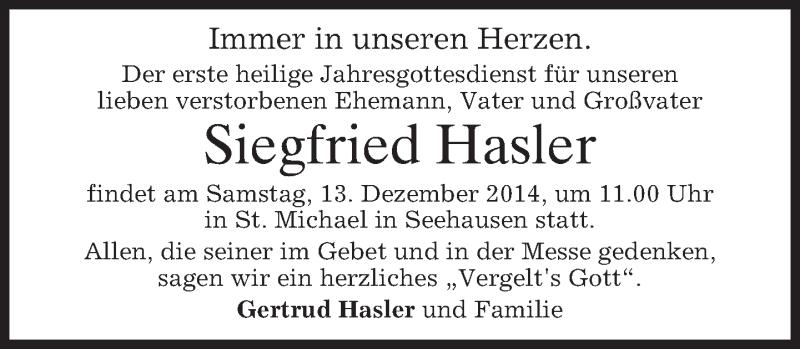 Traueranzeige für Siegfried Hasler vom 06.12.2014 aus merkurtz