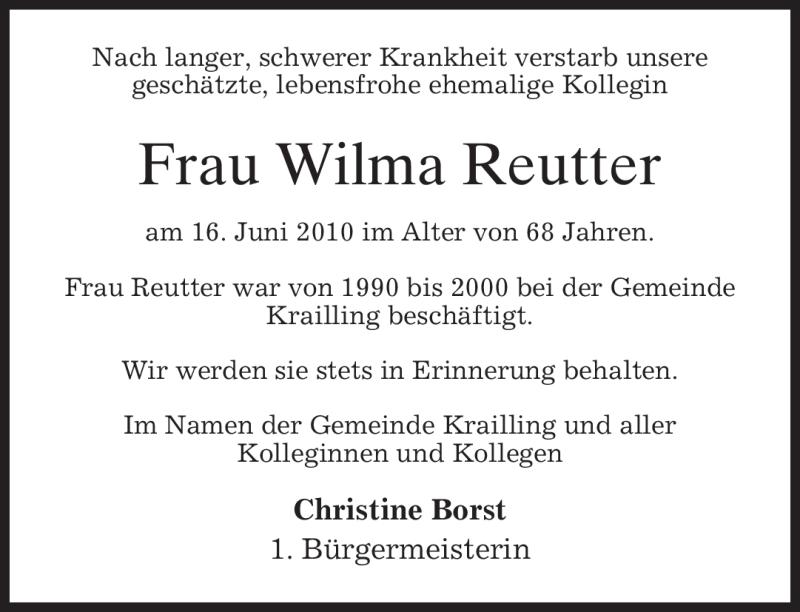 Anzeige von  Wilma Reutter