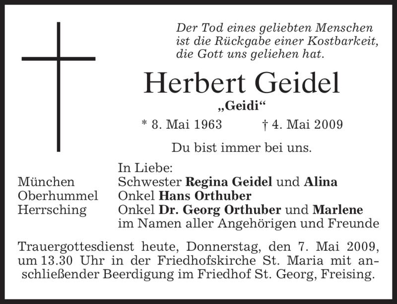 Traueranzeige für Herbert Geidel vom 07.05.2009 aus MERKUR & TZ