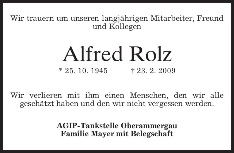 Traueranzeige für Alfred Rolz vom 28.02.2009 aus MERKUR & TZ