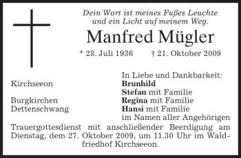 Traueranzeige von Manfred Mügler von MERKUR & TZ