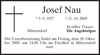 Traueranzeige von Josef Nau von MERKUR & TZ