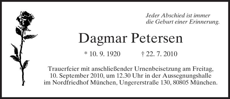 Traueranzeige für Dagmar Petersen vom 08.09.2010 aus MERKUR & TZ