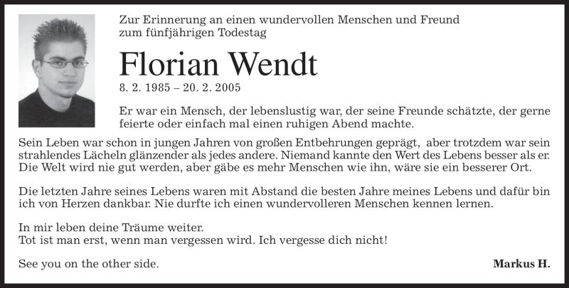 Traueranzeige für Florian Wendt vom 20.02.2010 aus MERKUR & TZ