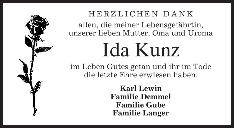 Anzeige von  Ida Kunz