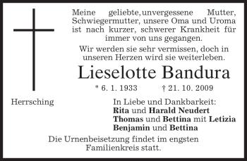 Traueranzeige von Lieselotte Bandura von MERKUR & TZ