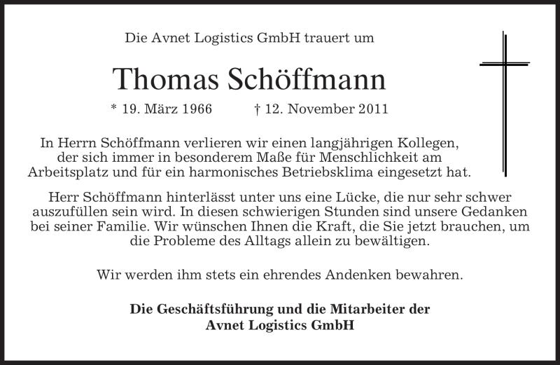 Traueranzeige für Thomas Schöffmann vom 19.11.2011 aus MERKUR & TZ