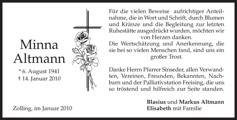 Traueranzeige für Minna Altmann vom 23.01.2010 aus MERKUR & TZ