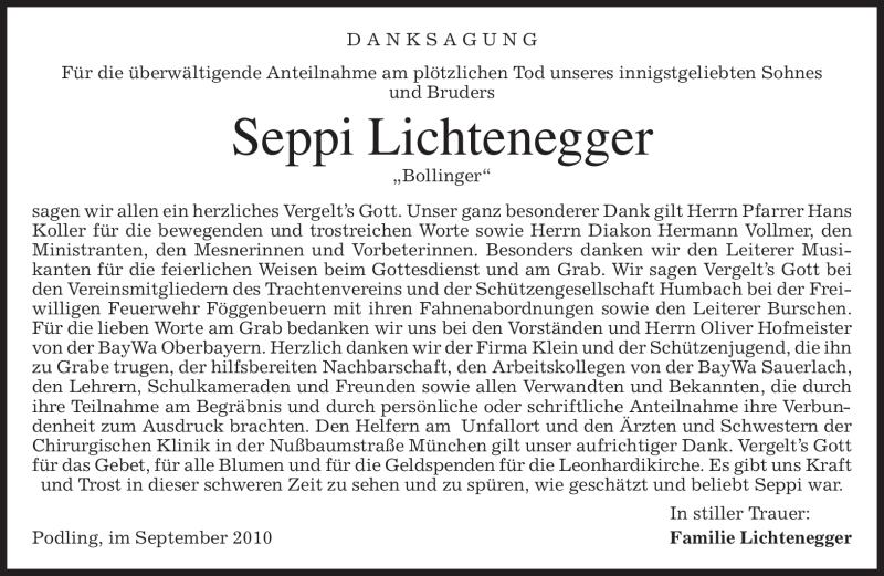 Traueranzeige für Seppi Lichtenegger vom 04.09.2010 aus MERKUR & TZ