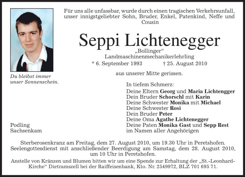 Traueranzeige für Seppi Lichtenegger vom 27.08.2010 aus MERKUR & TZ